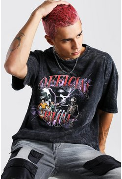 Oversized Acid Wash Skeleton Print T-Shirt, Charcoal