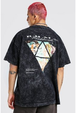 Charcoal Oversized Acid Wash Renaissance Print T-Shirt