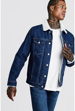 Mens Washed indigo Fully Borg Lined Denim Jacket