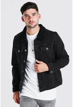 Washed black Fully Borg Lined Denim Jacket