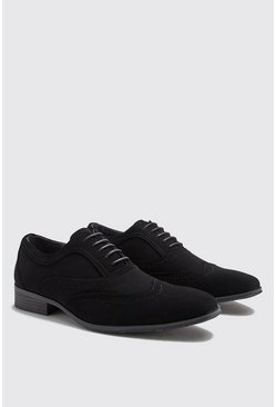 Mens Black Smart Faux Suede Brogue Shoes