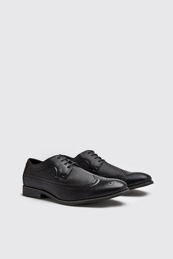 Mens Black Leather Look Brogue Shoes