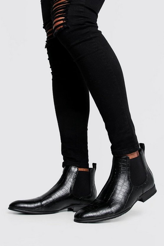 Mens Black Croc Leather Look Chelsea Boots
