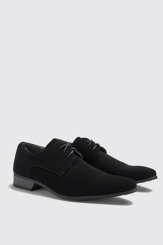 Mens Black Faux Suede Smart Shoes