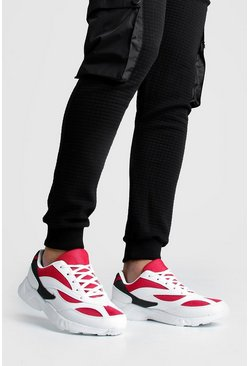 Mens Red Colour Block Panel Trainer