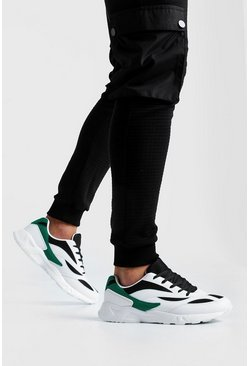 Mens Black Colour Block Panel Trainer