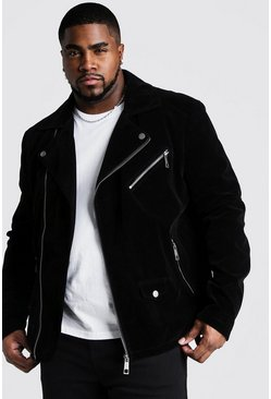 Black Big & Tall Velour Biker Jacket