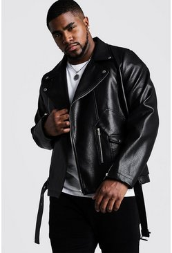Mens Black Big & Tall Faux Leather Biker With Belt