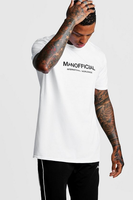 MAN Official T-Shirt in Loose Fit, Weiß, Herren