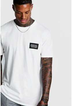 Mens White MAN Loose Fit International Print T-Shirt