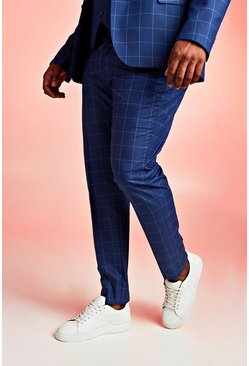 Navy Big & Tall Skinny Fit Windowpane Suit Pants