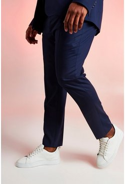Mens Navy Big & Tall Skinny Fit Suit Trouser