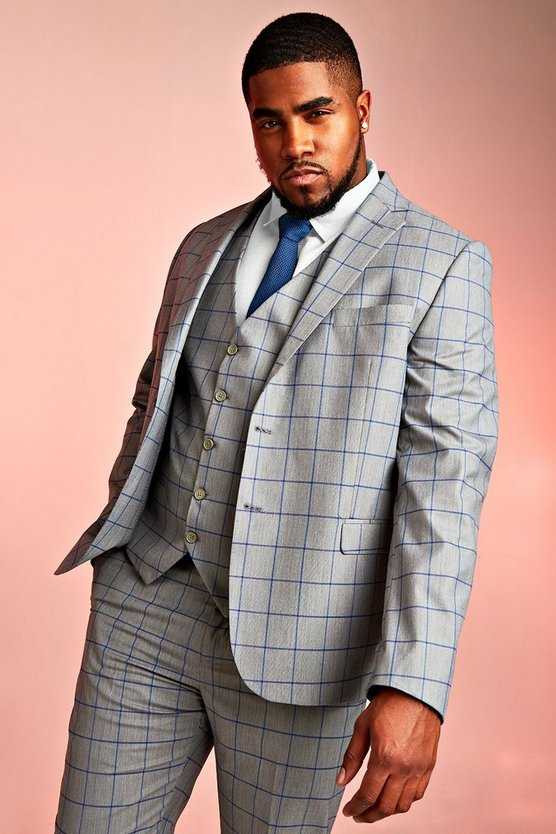 Mens Grey Big & Tall Skinny Fit Windowpane Blazer