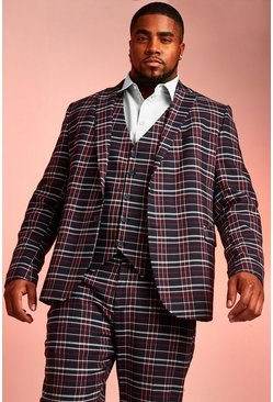 Mens Navy Big & Tall Skinny Fit Tartan Check Blazer