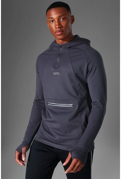 Charcoal Man Active Running Muscle Fit Raglan Hoodie