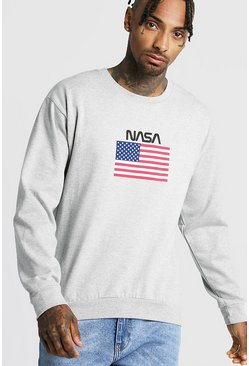 Sweat imprimé NASA, Gris, Homme