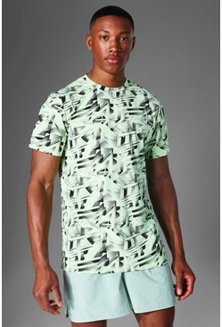 Lime Man Active Abstract Print T Shirt