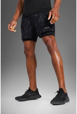Black  Man Active Abstract Print 2 In 1 Shorts