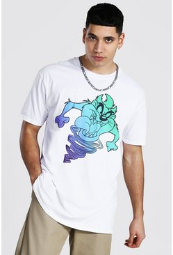 White Oversized Looney Tunes Taz License T-shirt