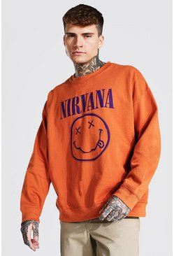 Orange Oversized Nirvana License Sweatshirt