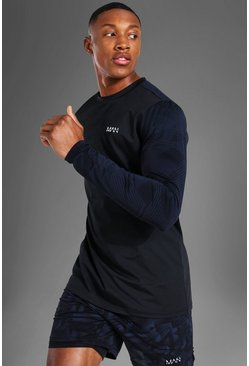 Black Man Active Abstract Sleeve Long Sleeve Top