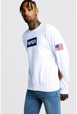 Sweat imprimé NASA, Blanc, Homme