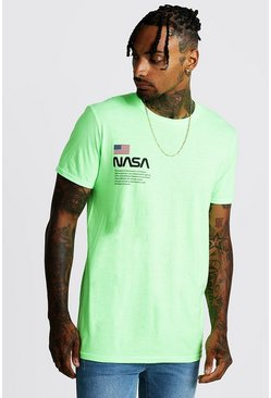 Mens Neon-green NASA Print T-Shirt