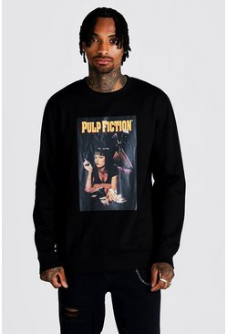Mens Black Pulp Fiction MIA Licensed Oversized Sweater