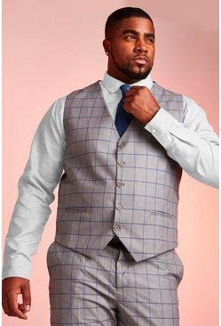 Grey Big & Tall Skinny Fit Windowpane Vest
