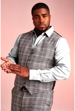 Black Plus Size Skinny Fit Prince Of Wales Waistcoat