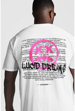 Big & Tall - T-shirt imprimé graffiti Lucid Dreams, Blanc, Homme