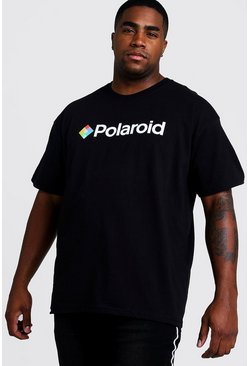 Mens Black Big and Tall Polaroid Licence T-Shirt