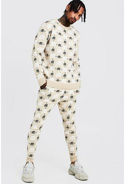 Mens Beige Gothic M All Over Print Knitted Jumper & Jogger Set