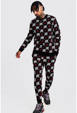 Mens Red Gothic M All Over Print Knitted Jumper & Jogger Set