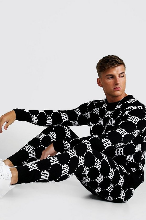 Mens Black Gothic M All Over Print Knitted Jumper & Jogger Set