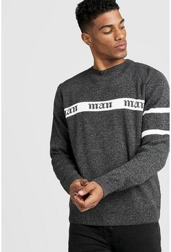 Mens Dark grey Gothic MAN Regular Fit Jumper