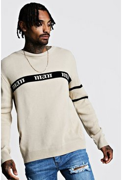 Mens Taupe Gothic MAN Regular Fit Jumper