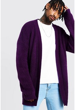 Mens Purple Oversized Laguna Cardigan