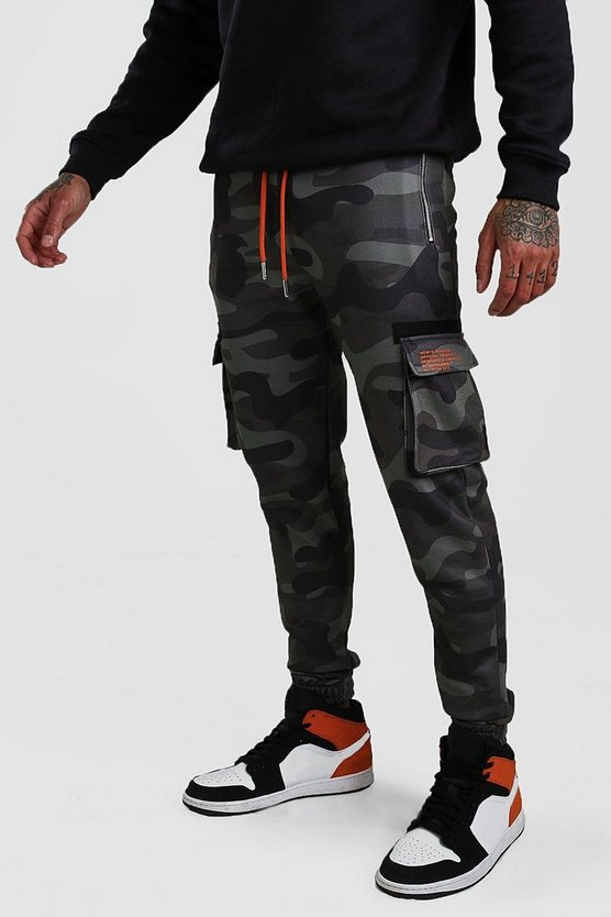 Charcoal Man Print Skinny Fit Camo Cargo Jogger