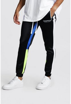 Mens Blue MAN Official Tricot Skinny Fit Colour Block Jogger