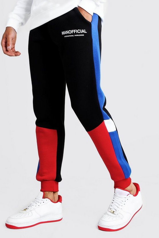 Black MAN Official Skinny Fit Colour Block Jogger