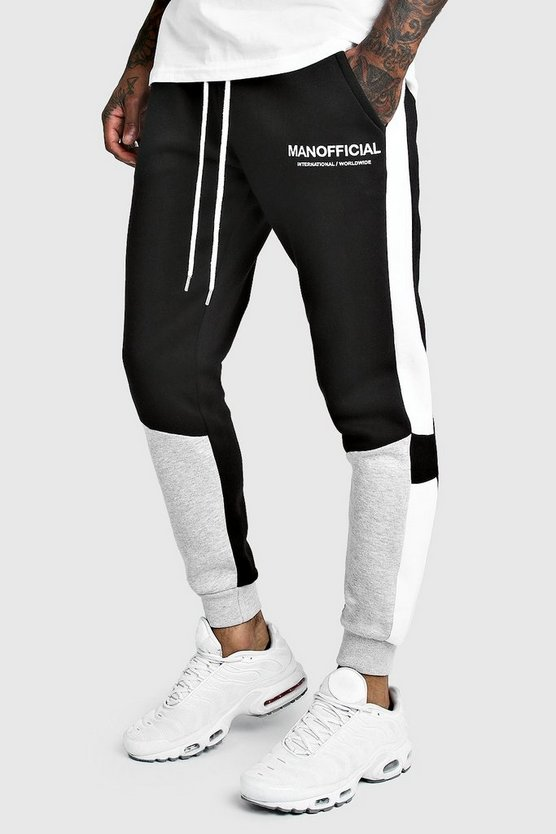 Man Official Skinny Fit Colour Block Jogger by Boohoo Man