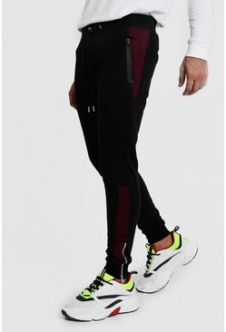 Mens Black MAN Signature Skinny Fit BikerJogger With Side Panel