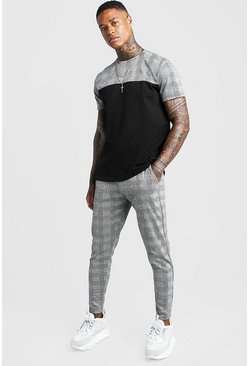 Mens Black Smart Jacquard Panelled T-Shirt Tracksuit