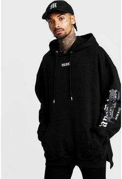 Mens Black Graffiti MAN Official Oversized Step Hem Hoodie