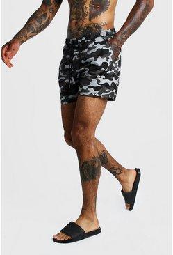 Grey Camo Print Mid Length Swim Short