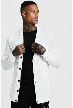 Mens Ecru Loose Fit Cable Knit Cardigan