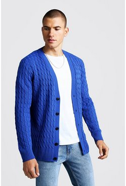 Mens Cobalt Loose Fit Cable Knit Cardigan