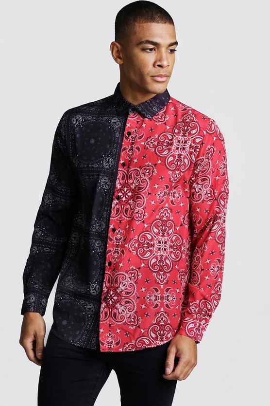 Mens Black Long Sleeve Spliced Bandana Print Shirt