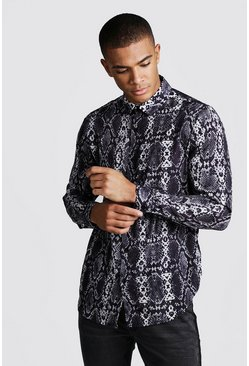 Mens Black Long Sleeve Snake Print Shirt